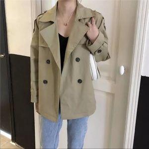 Short trench coat spring jacket kaki